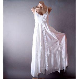 White Crochet Summer Slip Sundress Boho Maxi Dress